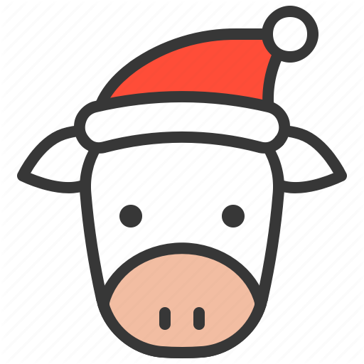 \'Cute Farm animal with christmas hat\' by icon stall.