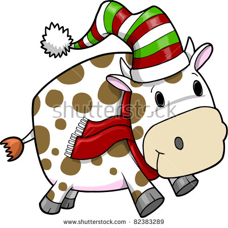 Christmas Cow Stock Images, Royalty.