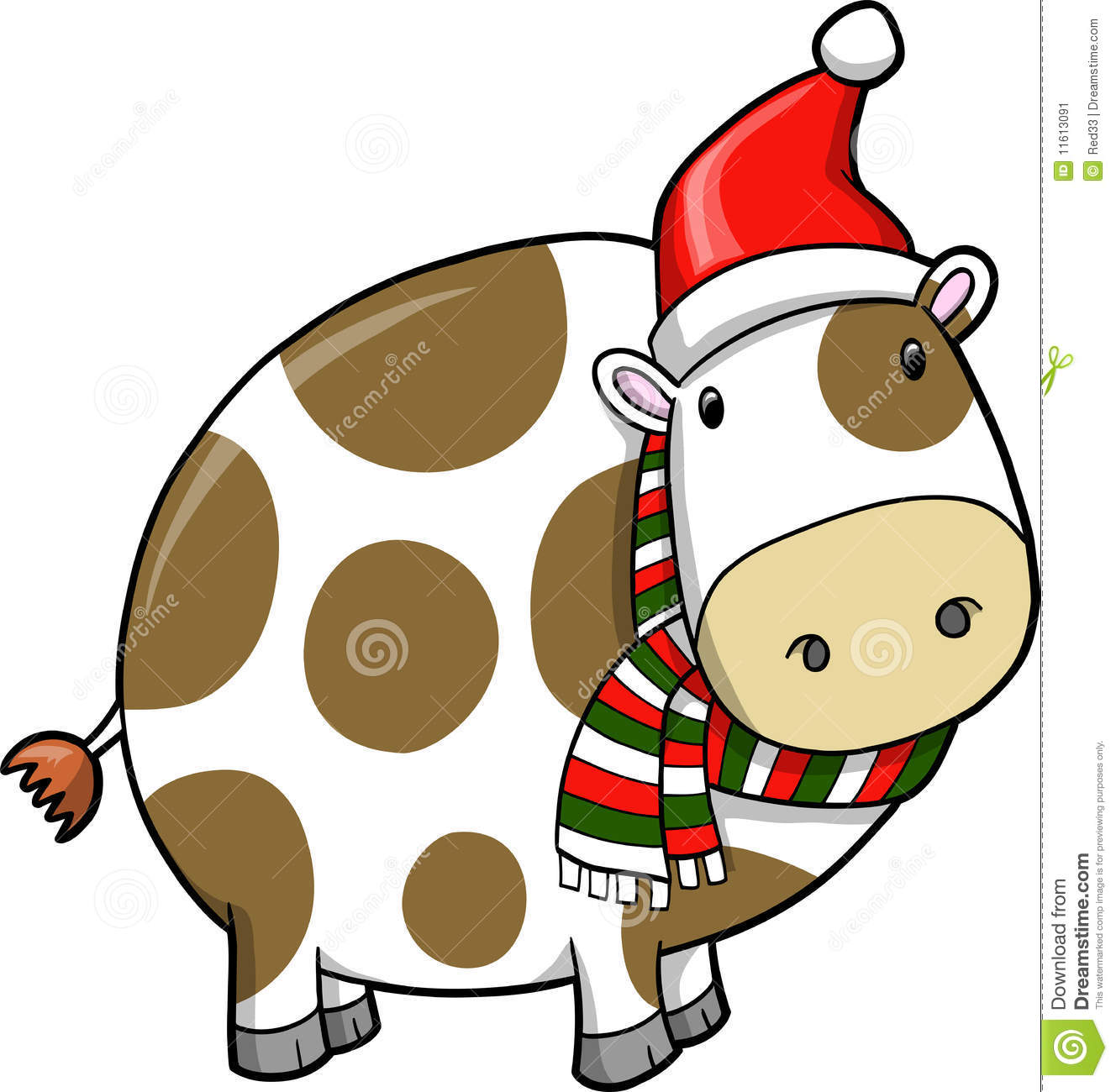 Free Christmas Cow Clipart.