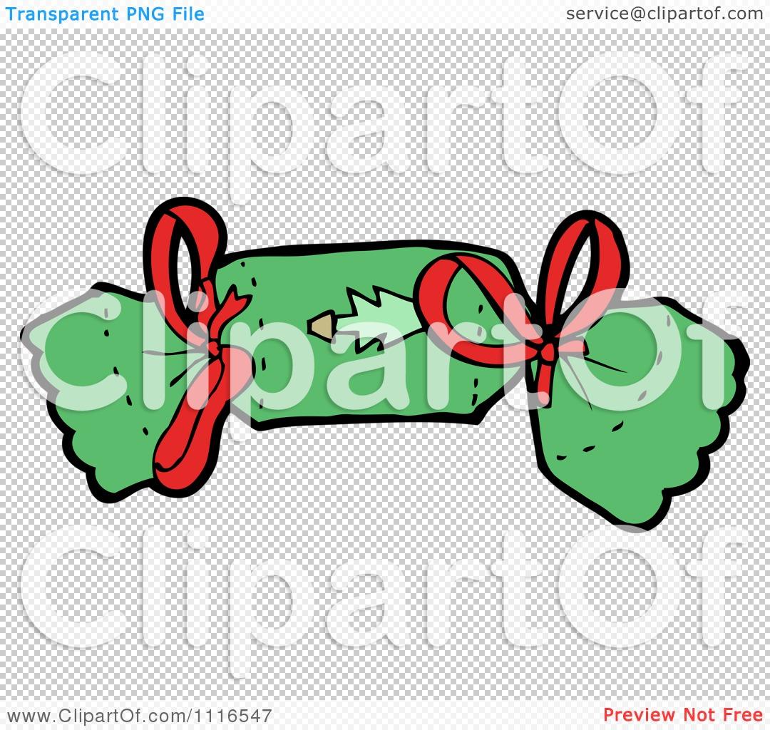 Clipart Green Christmas Cracker 1.
