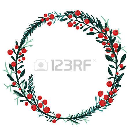 cranberry: Hand drawn wreath with red berries and fir.