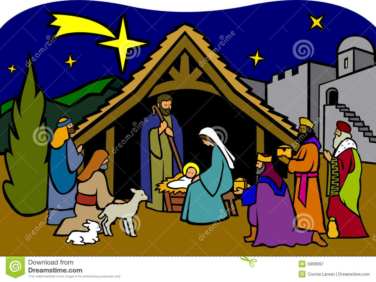 Free clip art christmas nativity scenes.