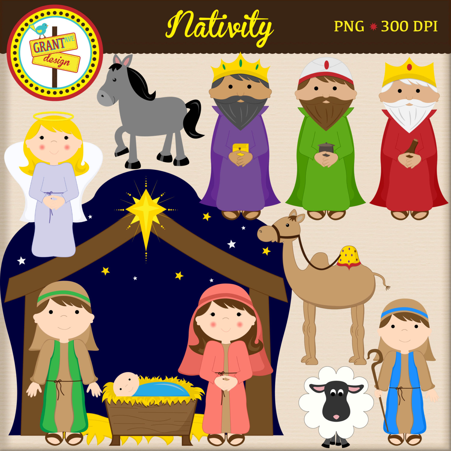 Christmas characters nativity clipart.