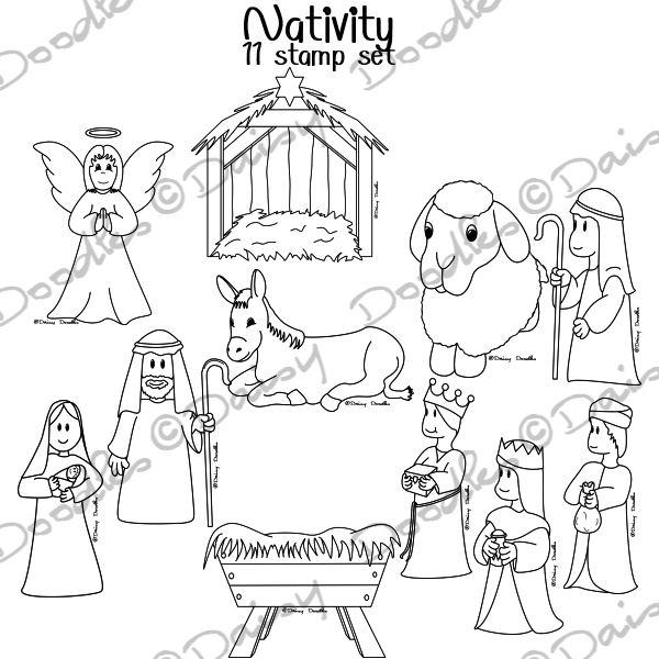 Nativity Black And White Clipart.