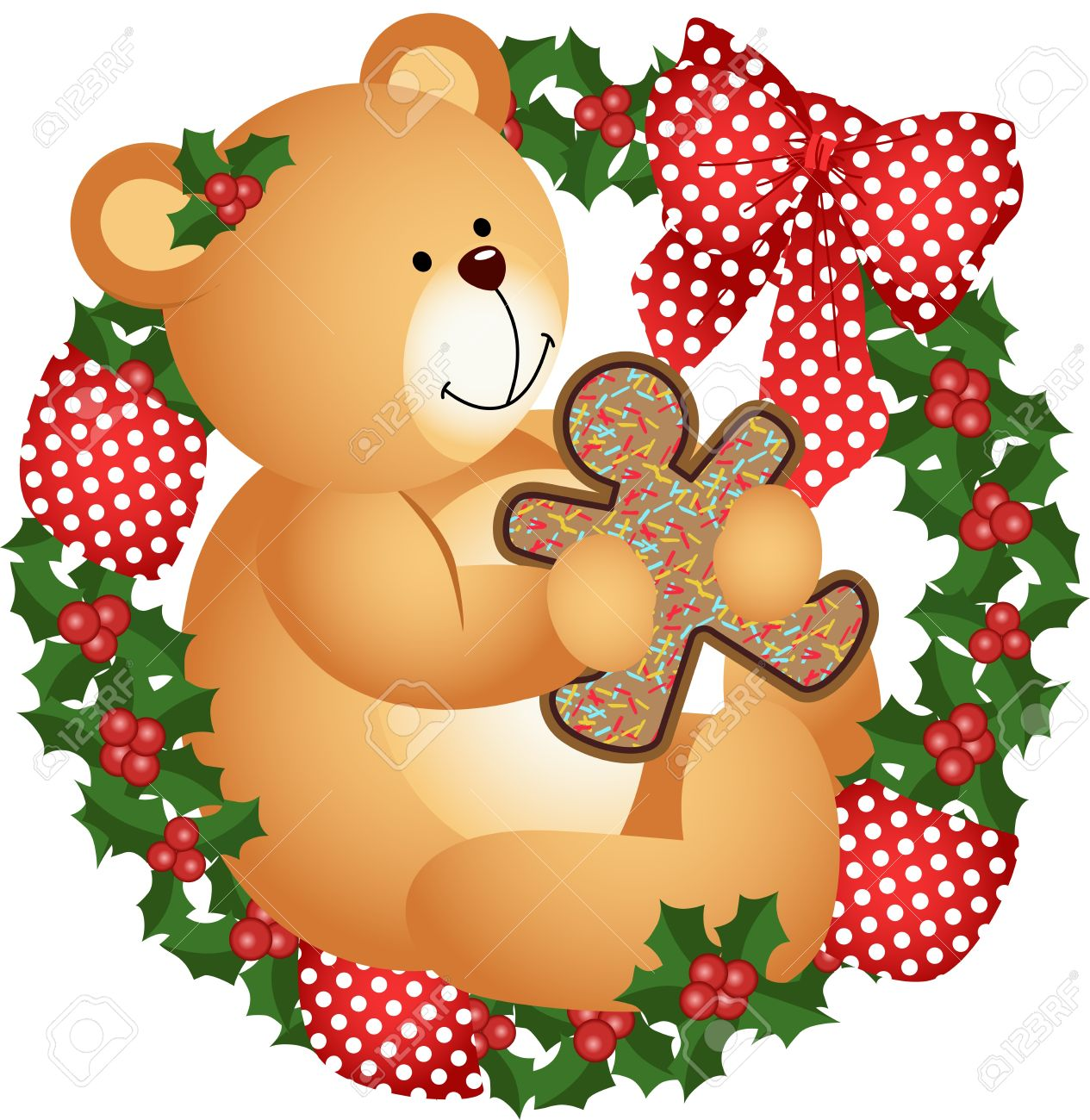 Christmas Teddy Bear With Cookie In Crown Royalty Free Cliparts.
