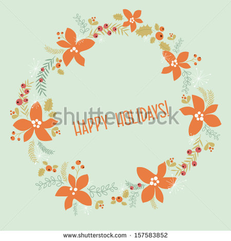 Christmas Background Crown Flower Stock Vector 157583852.
