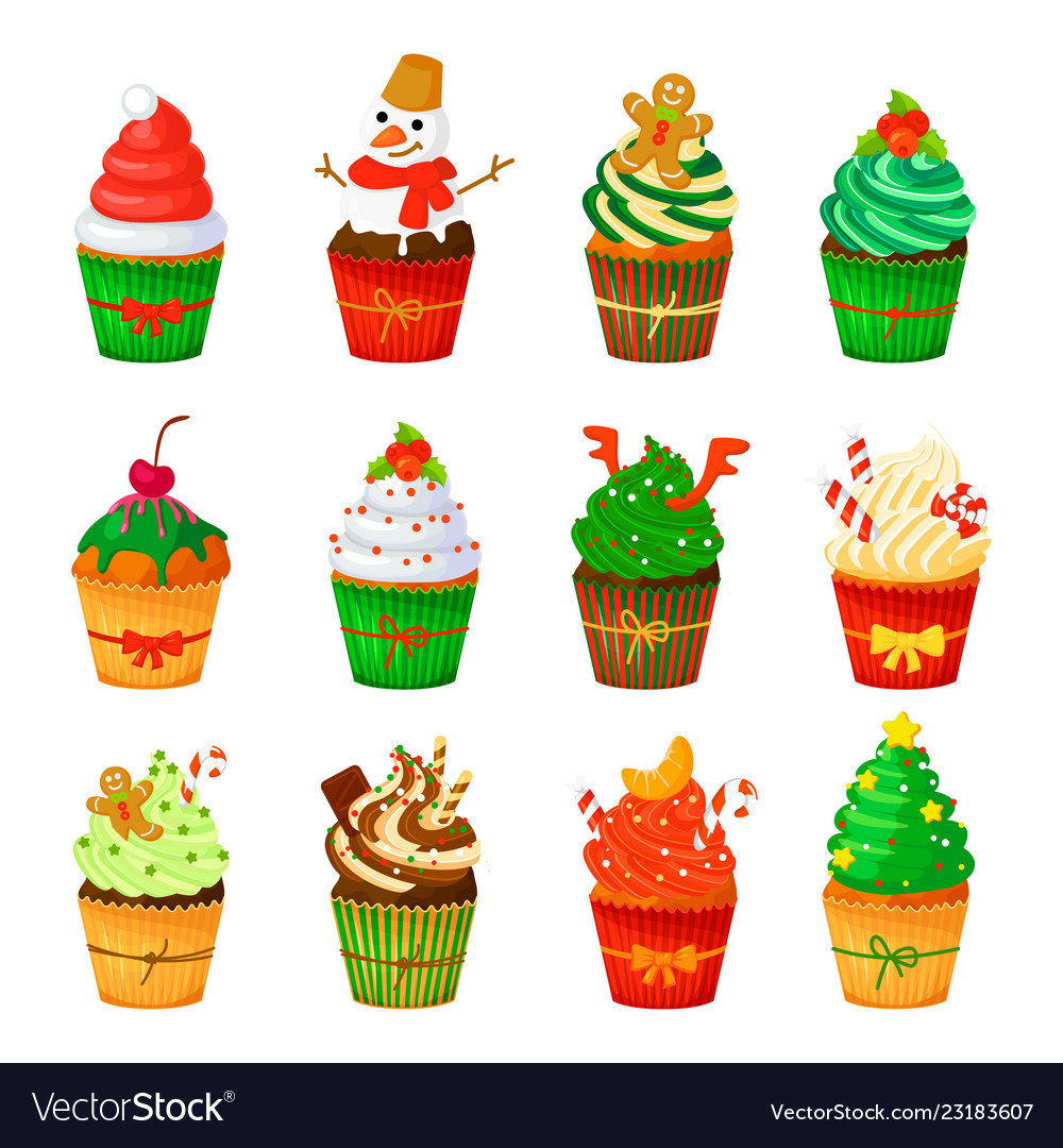 Christmas cupcakes set isolated.