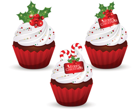 Christmas cupcakes clipart.