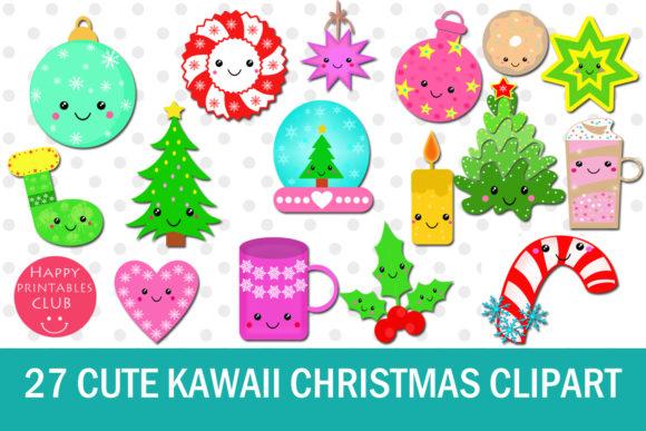 27 Cute Kawaii Christmas Cliparts.