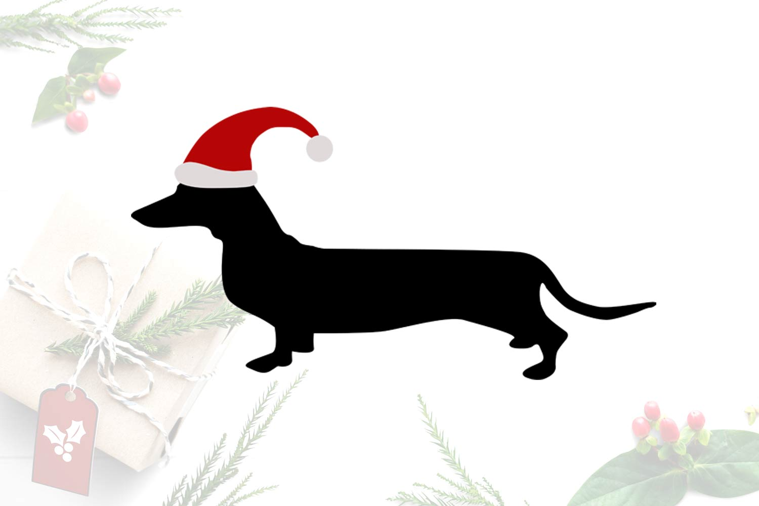 Dachshund Vector Graphic, Christmas SVG, Santa Claus Clipart.