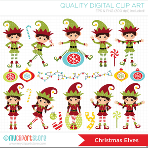 Christmas Dancing Elves Clipart.