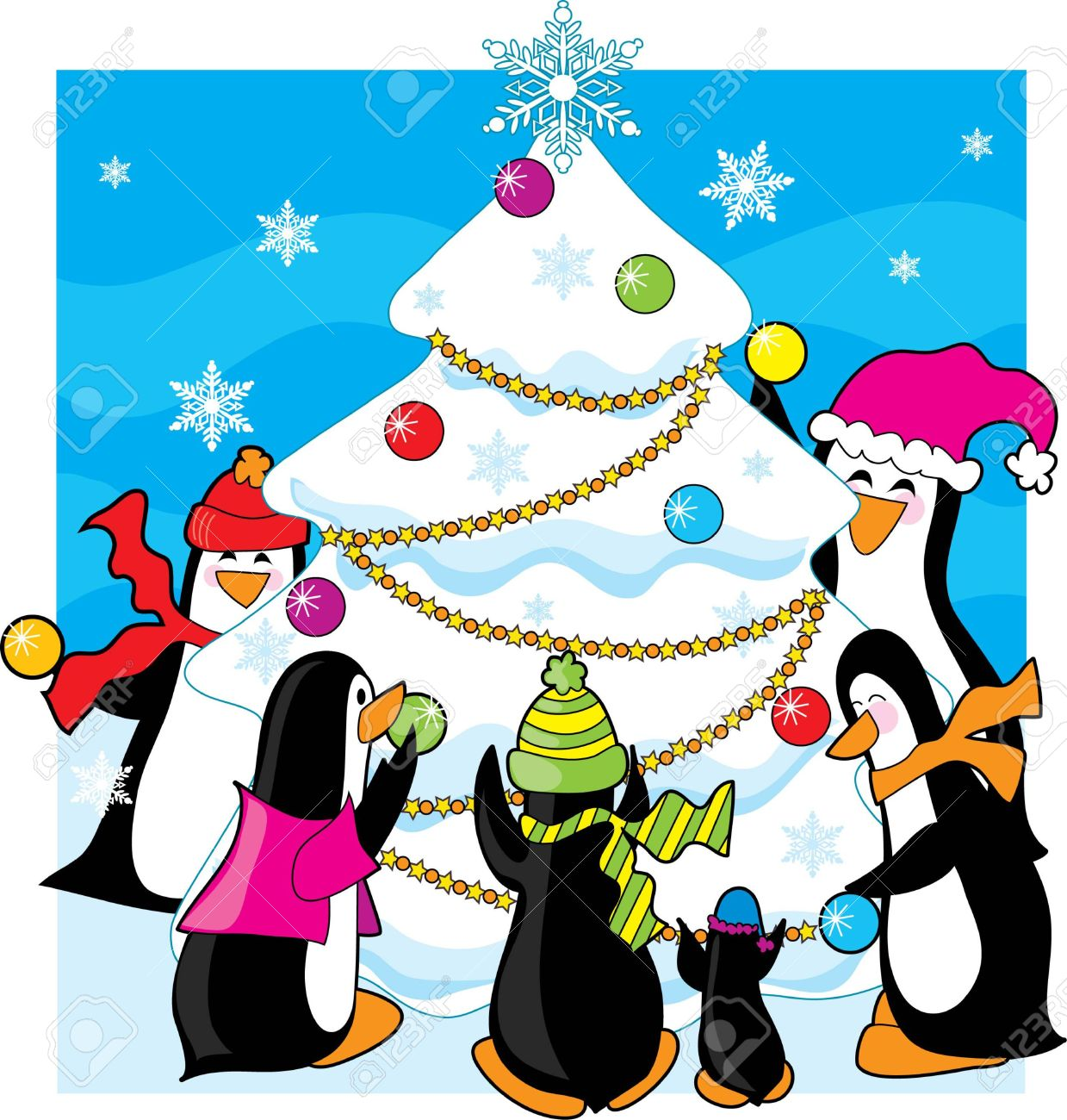 A Of Penguins Decorating A Snow And Ice Tree Royalty Free Cliparts.