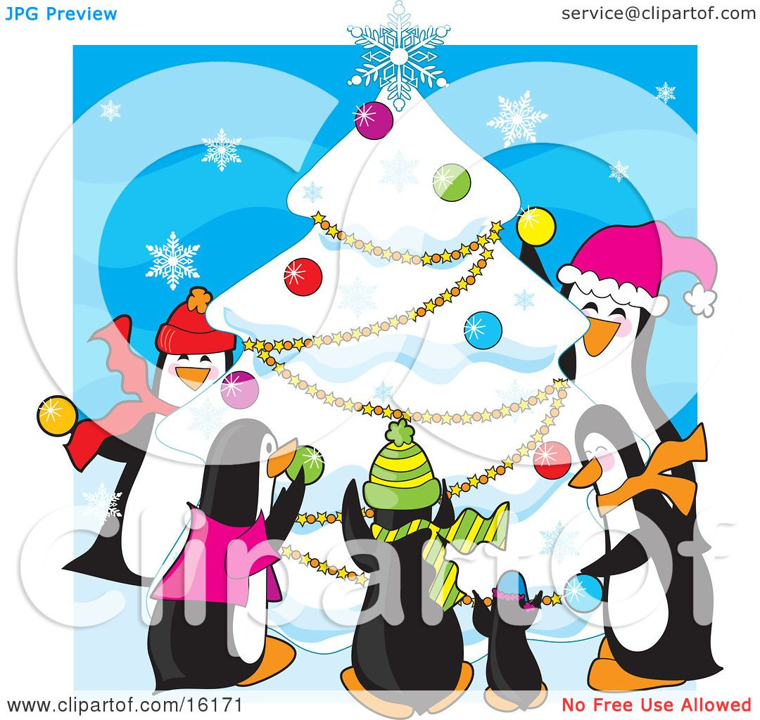Group Of Happy Penguins Wearing Scarves And Hats While Decorating.