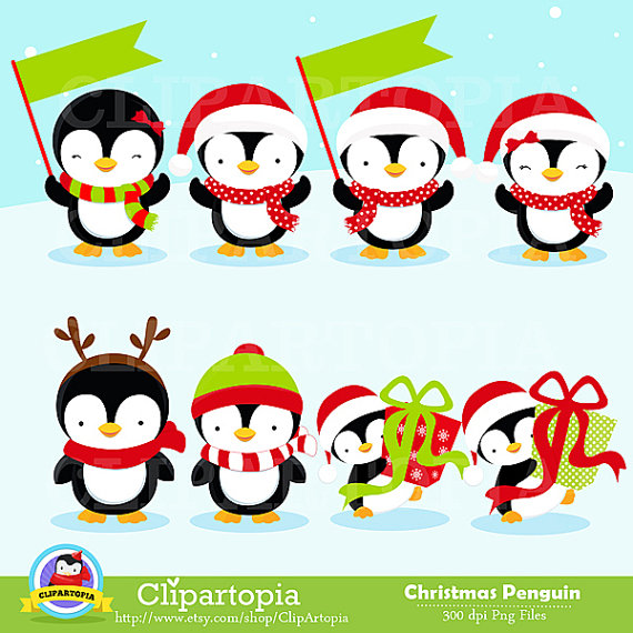 Christmas Penguin Clipart / Penguin digital clipart by ClipArtopia.