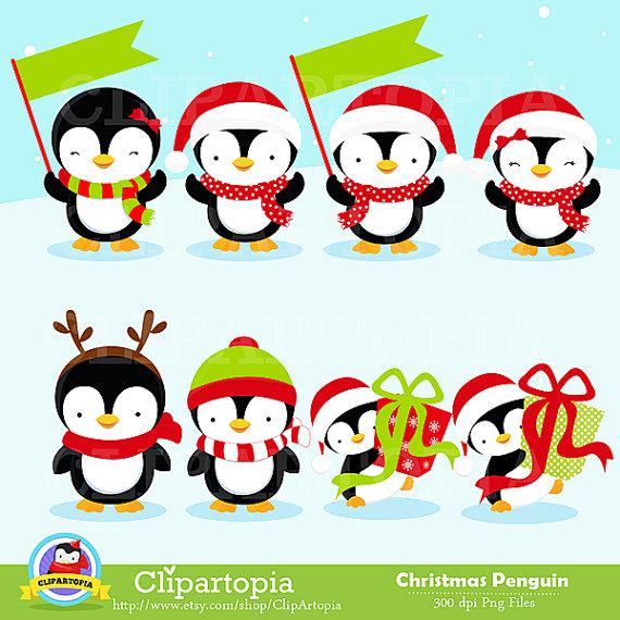 Christmas Penguin Clipart / Penguin digital clipart by ClipArtopia.