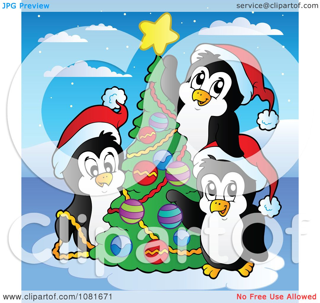 Clipart Penguins Decorating A Christmas Tree.