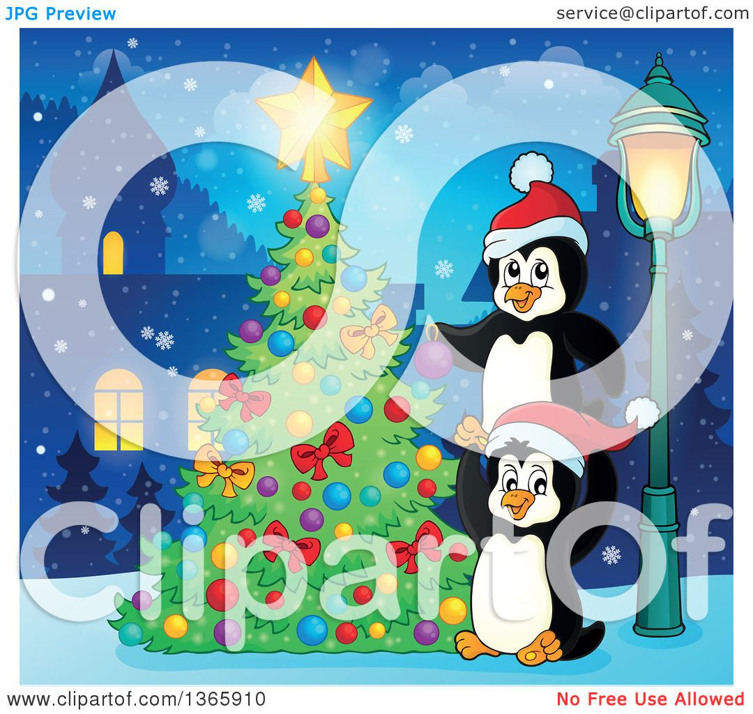 Clipart of Cute Christmas Penguins Decorating a Tree in a Village.