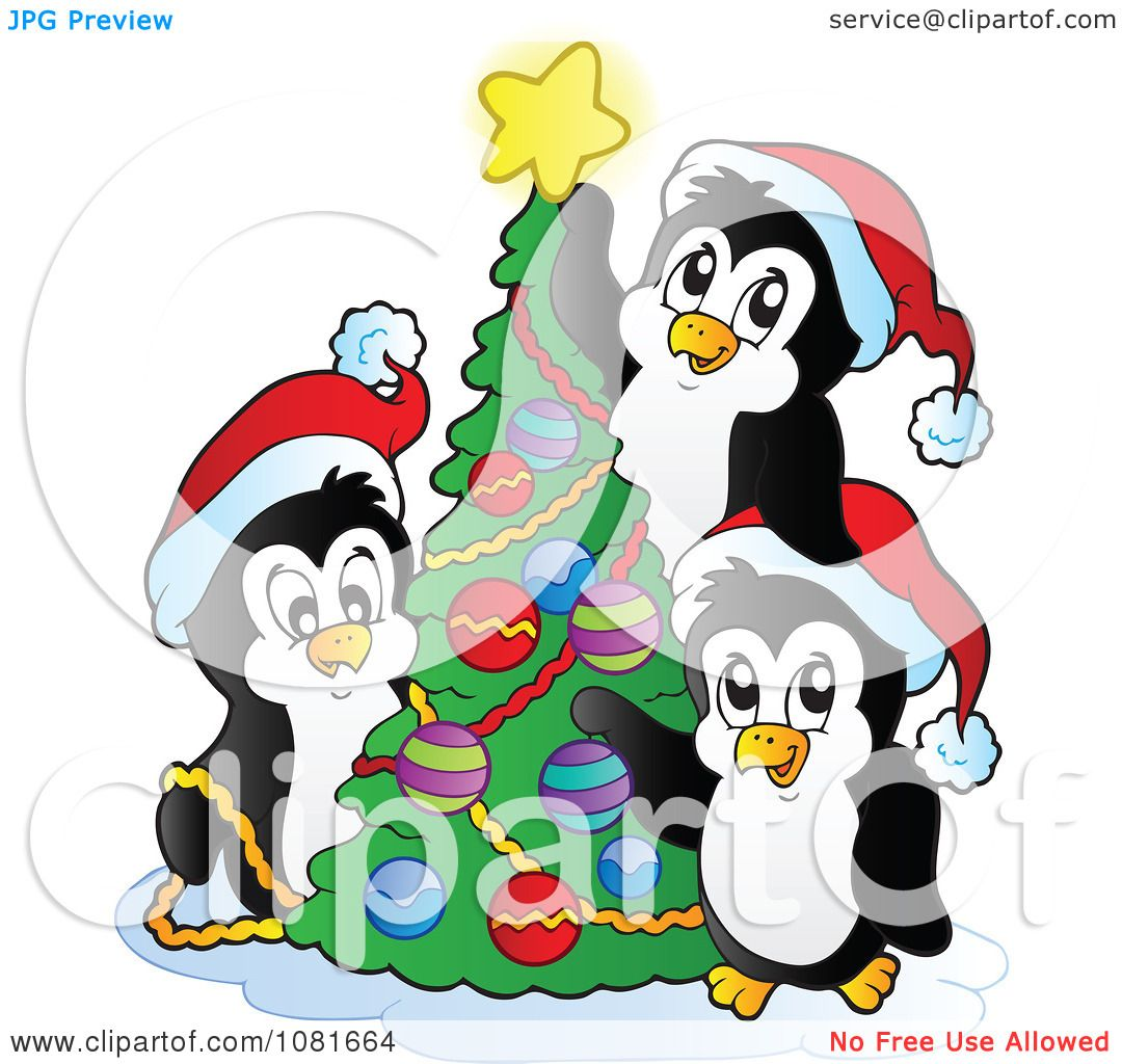 Clipart Christmas Penguins Decorating A Tree.