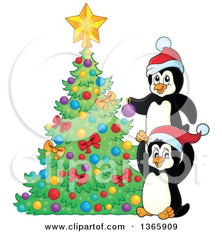 Clipart of Cute Christmas Penguins Decorating a Tree.