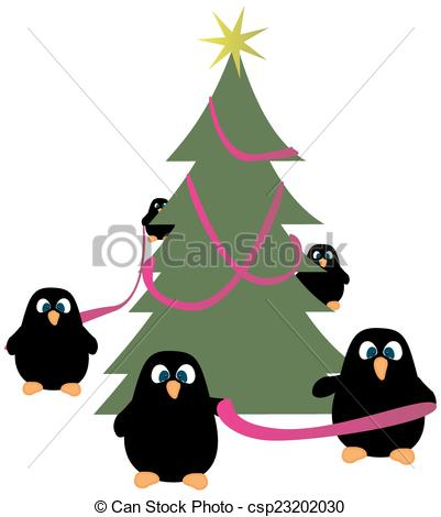Vectors of Penguins decorating Christmas tree.