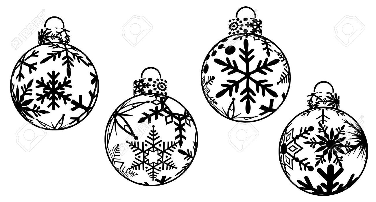 christmas decorations clipart black and white.
