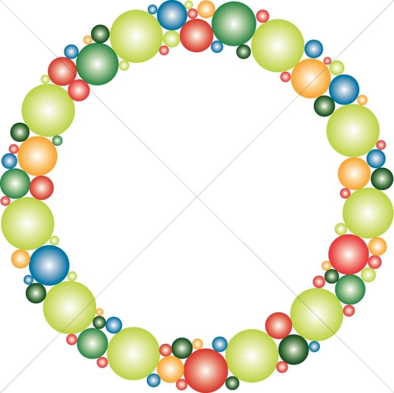 Colorful Bubbles Circle Border.