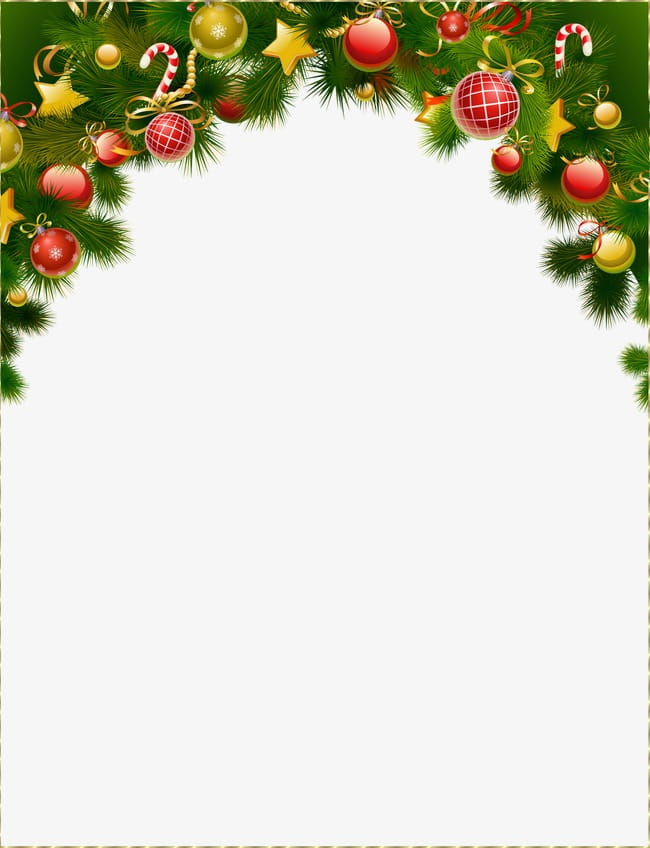 Christmas ball decoration border background PNG clipart.