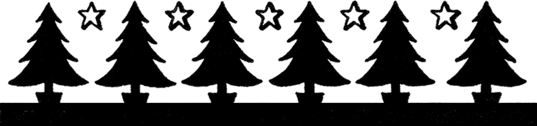 Christmas Tree Silhouette Border Image.