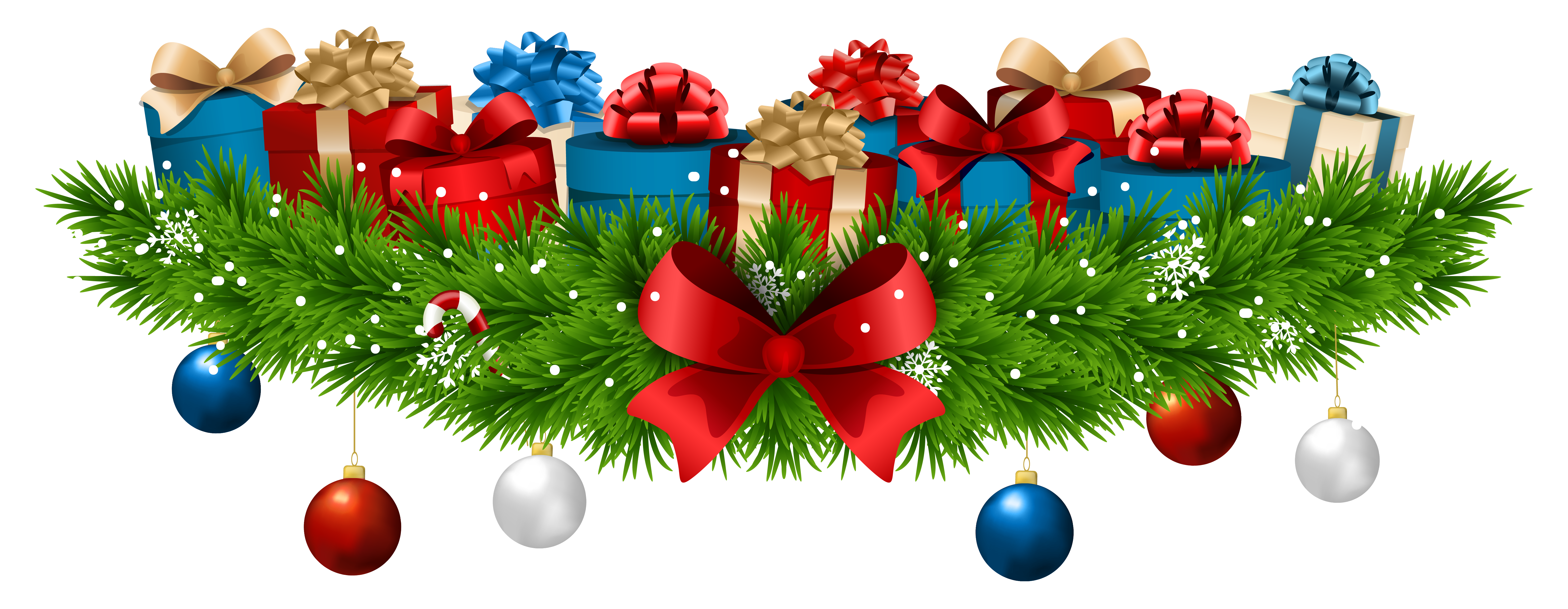 Christmas Decoration with Gifts PNG Clip Art Image.