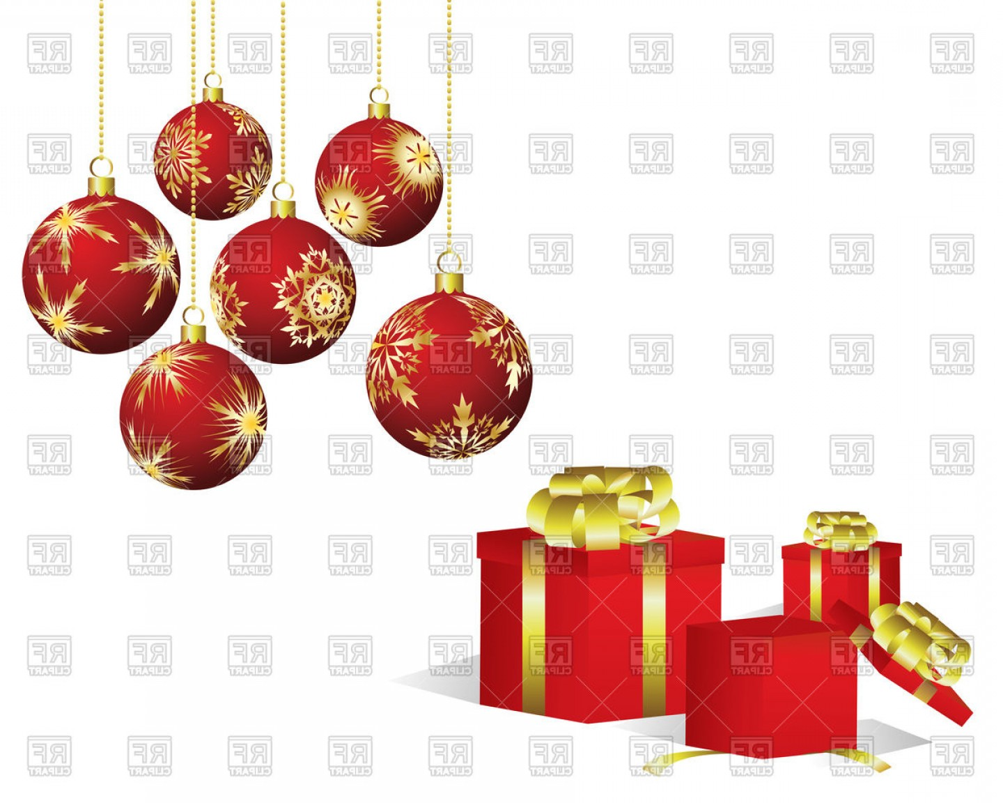 Christmas Decoration And Gifts Vector Clipart.