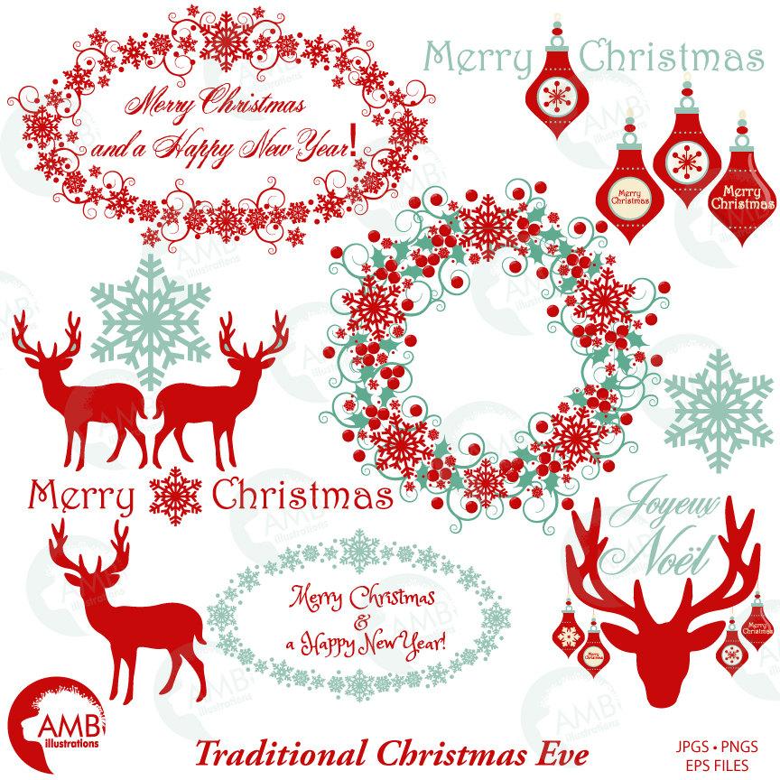 Christmas Clipart, Christmas Reindeer Clipart, Vintage Christmas, AMB.