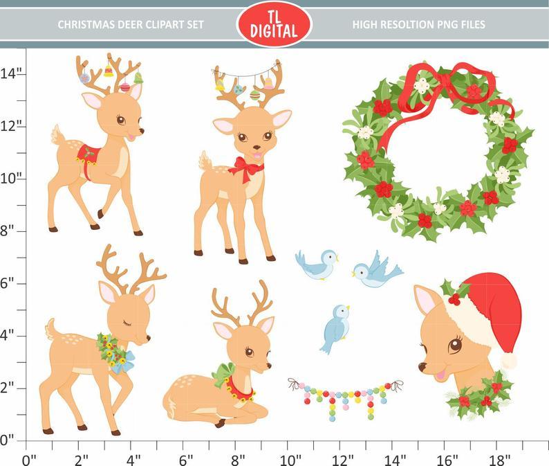 Christmas Deer Clipart Set.