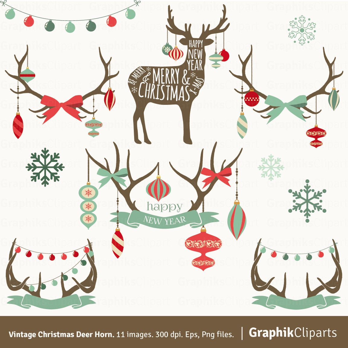Christmas deer clipart. Christmas vectors, Ornaments clipart, Christmas  clip art. 11 Eps, Png files..