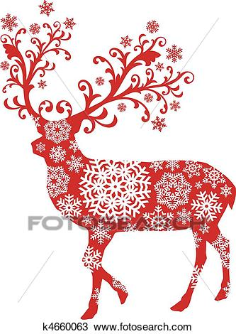 Christmas deer, vector Clipart.