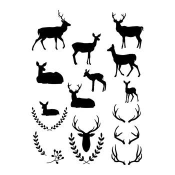 Deer Clipart, White Deer Silhouette, Black Deer Graphics, Christmas Deer  Vector.