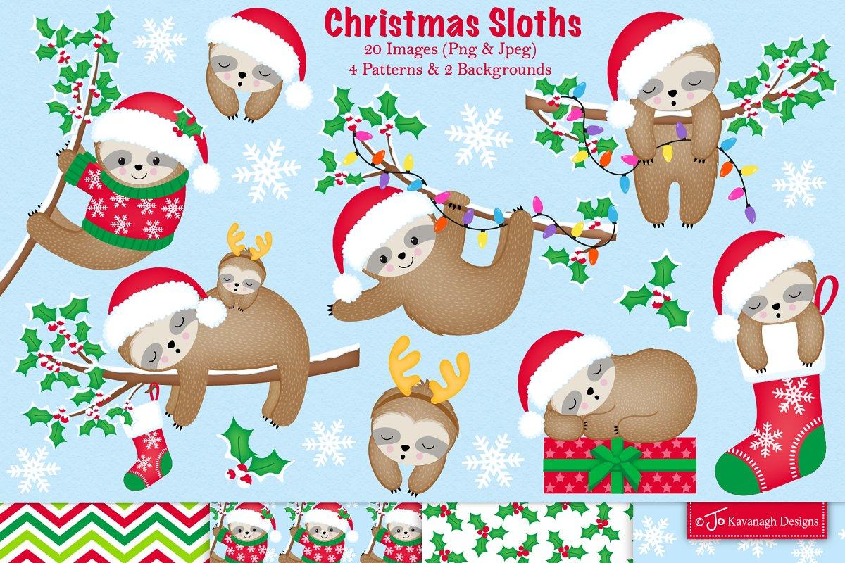 Christmas sloth clipart.
