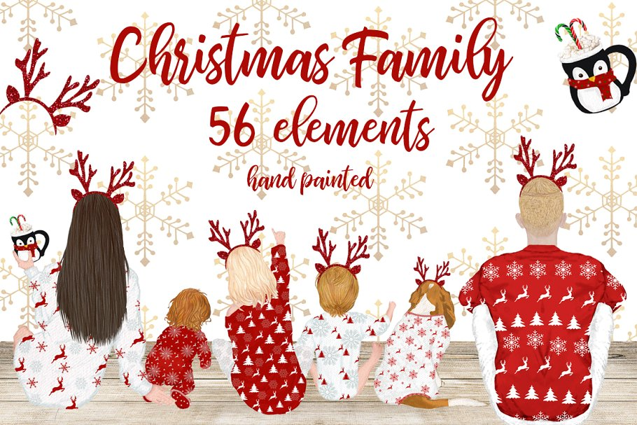 Christmas Family sitting clipart.