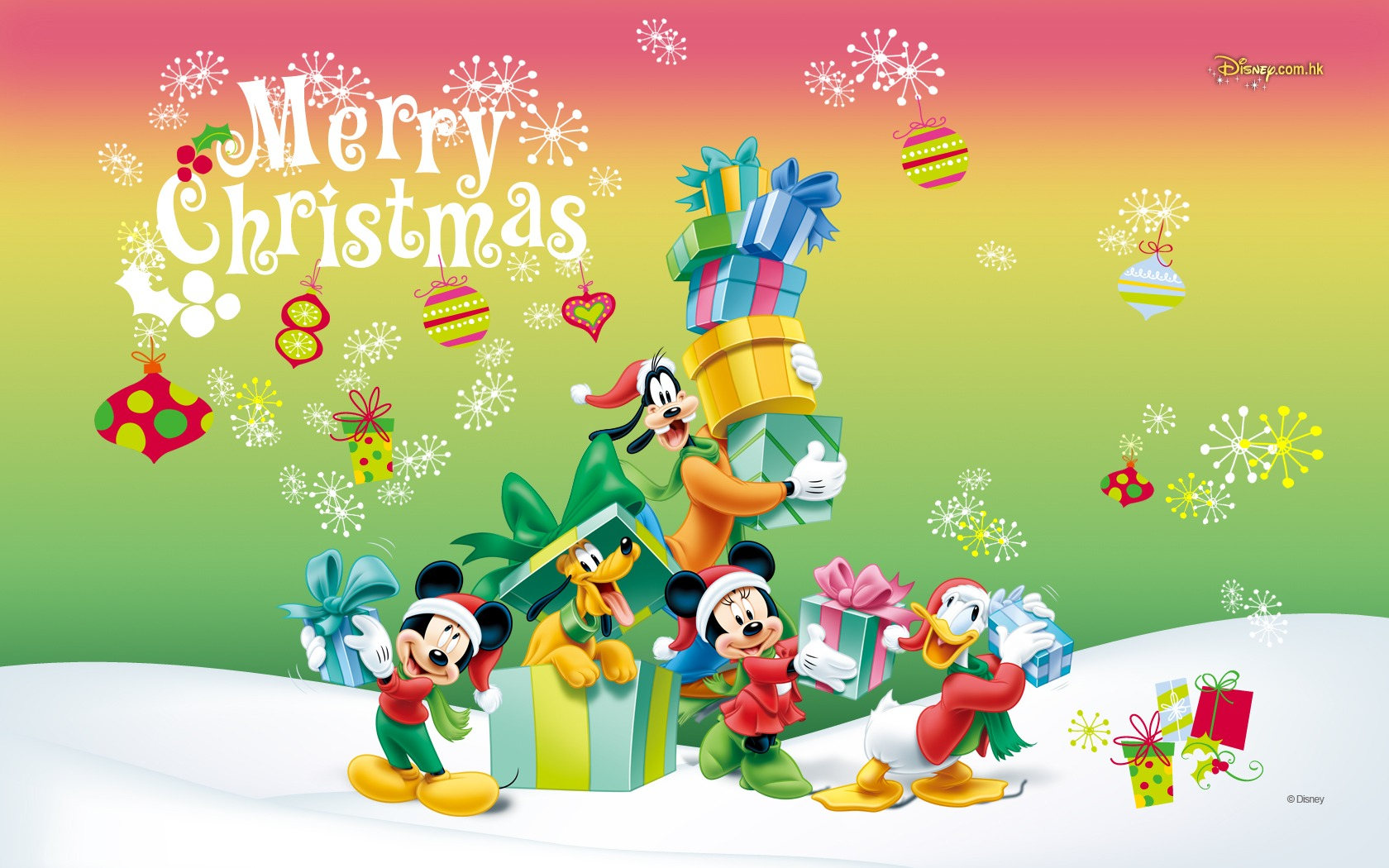 Mickey Mouse Christmas Desktop Clipart.