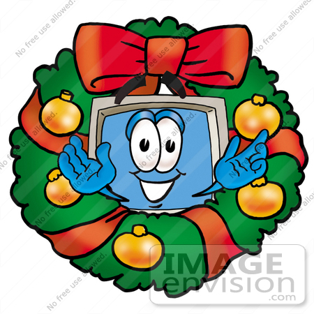 Clip Art Graphic of a Desktop Computer Cartoon Character in the.