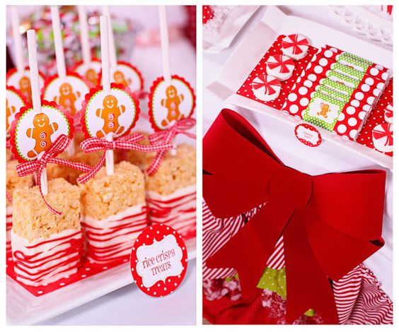 Christmas parties, Christmas dessert tables and Krispie treats on.