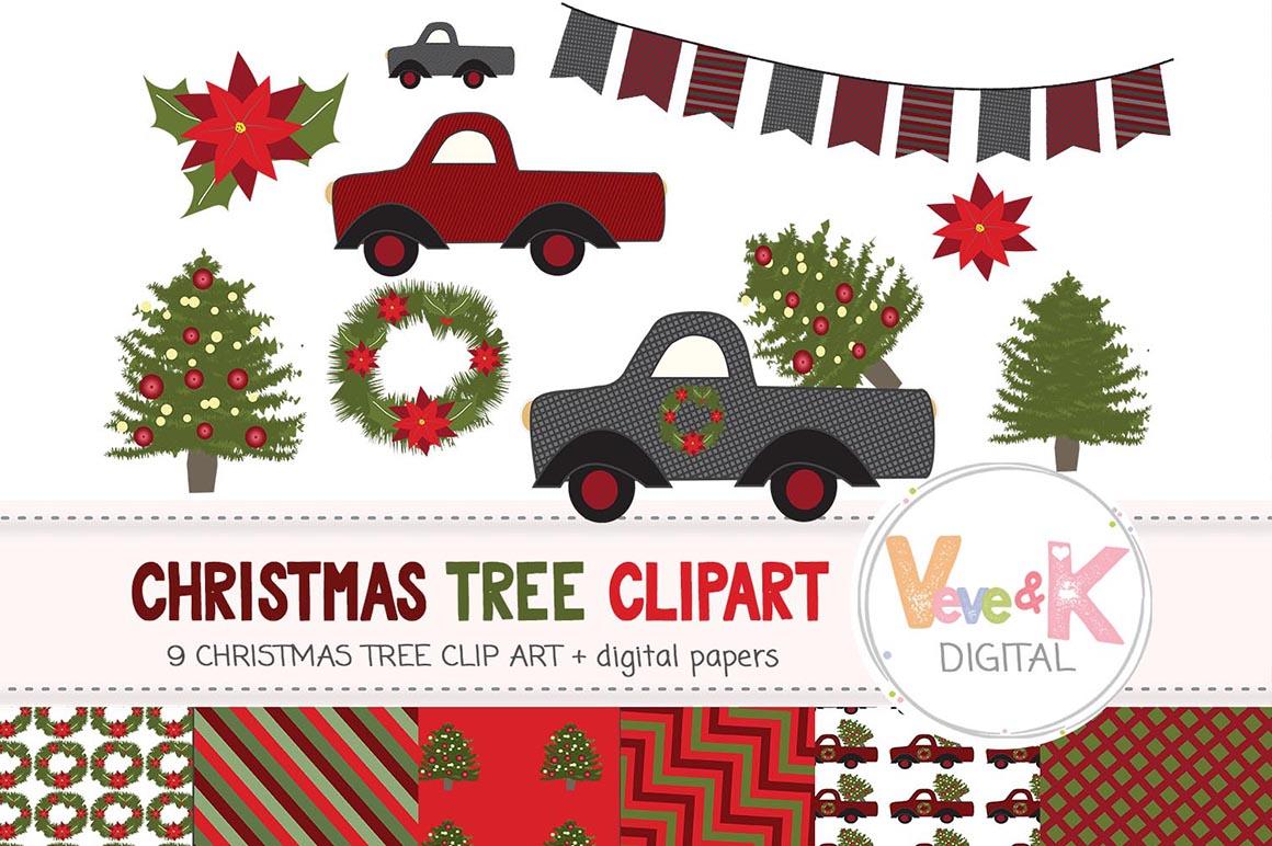 Christmas Tree Farm Clipart, Tree Farm Clipart, Tree Truck Clipart,  Christmas Tree Truck, Christmas Clipart, Xmas Tree Farm,.