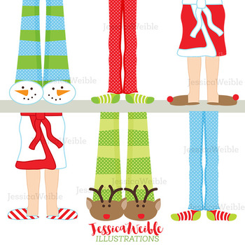 Christmas Pajama Feet Cute Digital Clipart, Christmas Graphics.