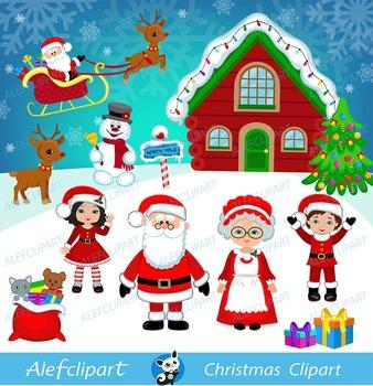 Christmas Digital Clipart, Santa Clipart, Mrs claus , Santa Claus Clipart..