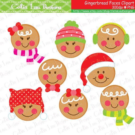 Gingerbread Faces Christmas Digital Clipart, Christmas Clipart, Cute.