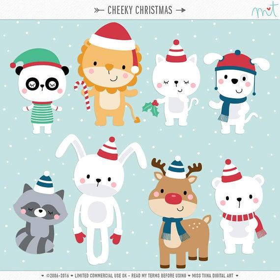 Cheeky Christmas Digital Clipart Clip Art Illustrations.