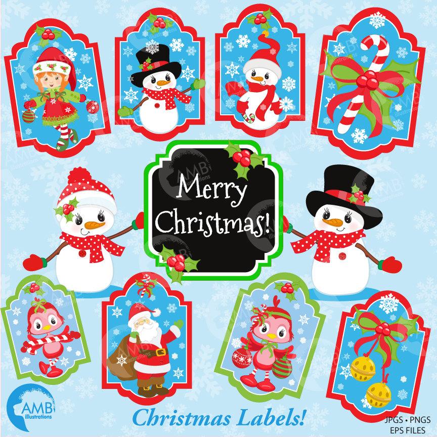 Christmas Clipart, Christmas Digital Tags, Christmas Labels Clipart, AMB.