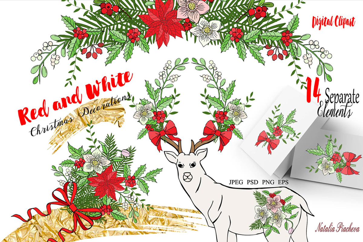 Red and White Christmas Digital Clipart.