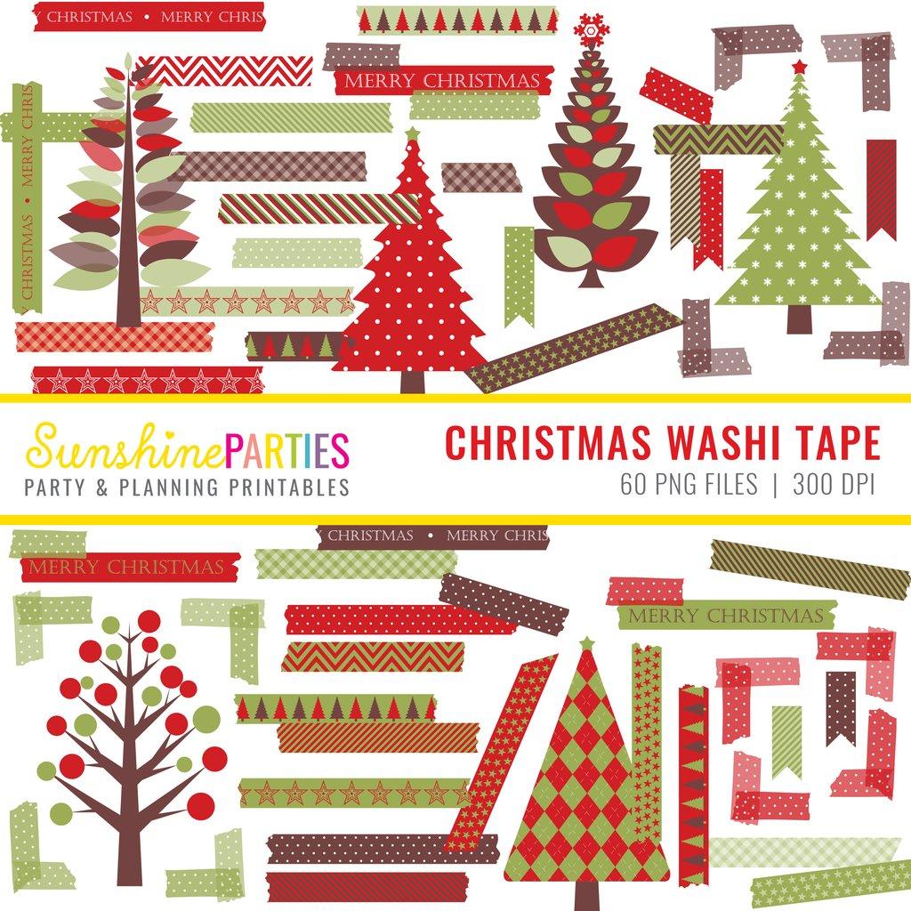 Christmas Digital Washi Tape and Clipart Set.