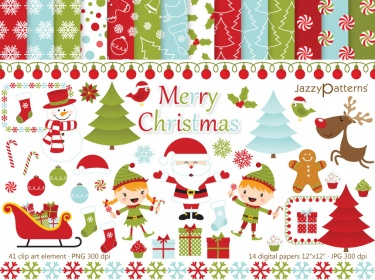 Merry Christmas clip art and digital paper pack.