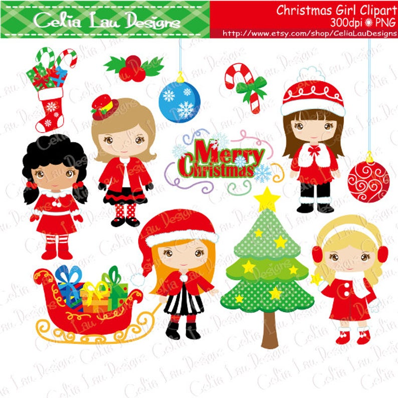CHRISTMAS GIRLS Clipart, Merry Christmas Digital Clipart (CG203).